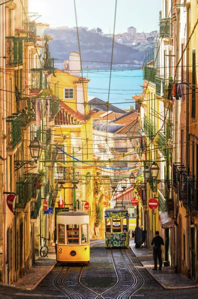 Photograph - The Bica Funicular - Lisbon, Portugal by Nico Trinkhaus