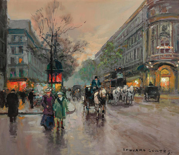 Boulevard Painting - The Big Boulevards by Edouard Henri Leon Cortes