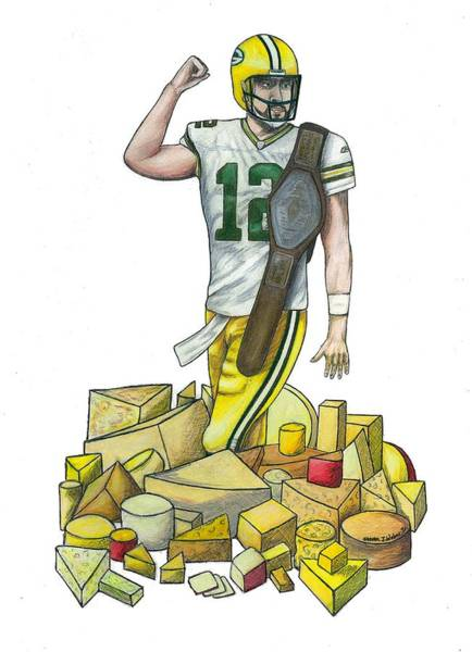 Super Bowl Drawing - The Big Cheese by Steve Weber