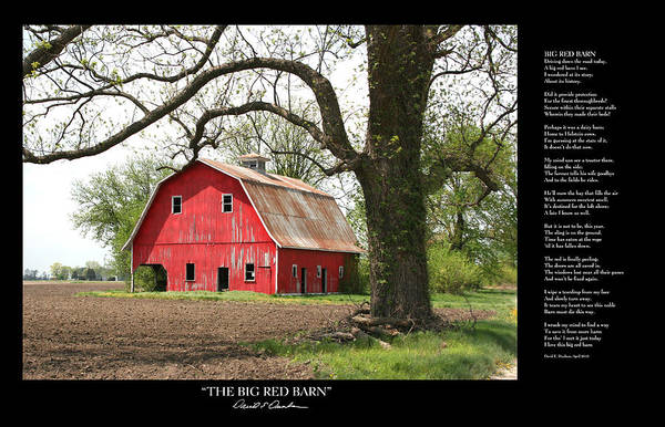 Photograph - The Big Red Barn W Poem by David Dunham