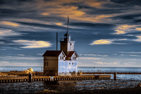 Holland State Park Photograph - The Big Red Lighthouse In Infrared On Lake Michigan By Ottawa Beach by Randall Nyhof