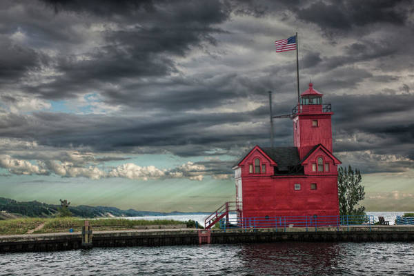 Holland State Park Photograph - The Big Red Lighthouse On Lake Michigan By Ottawa Beach by Randall Nyhof