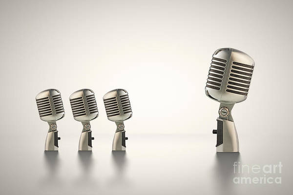 Microphone Photograph - The Big Talk by Johan Swanepoel