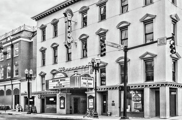 Photograph - The Bijou Theatre Marquee Black And White by Sharon Popek