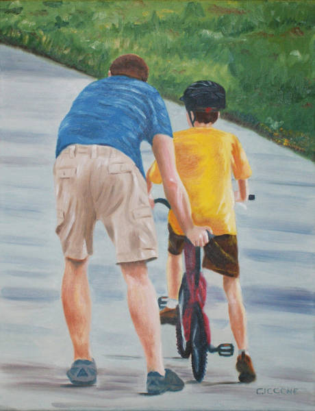 Painting - The Bike Lesson by Jill Ciccone Pike