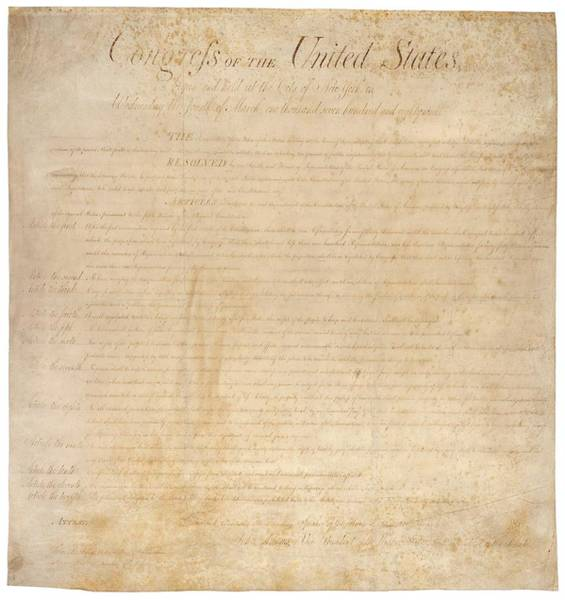 18th Century Photograph - The Bill Of Rights. The First Ten by Everett