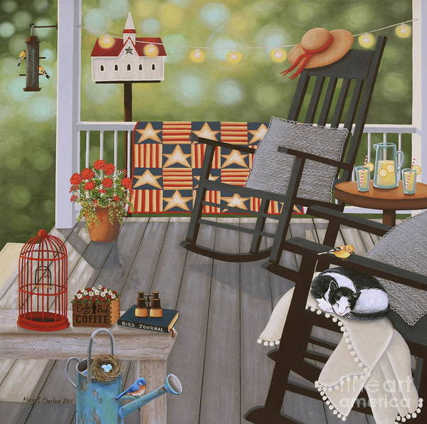 Porch Painting - The Bird Watcher by Mary Charles
