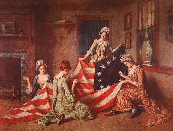 Embroidery Painting - The Birth Of The Flag by Henry Mosler