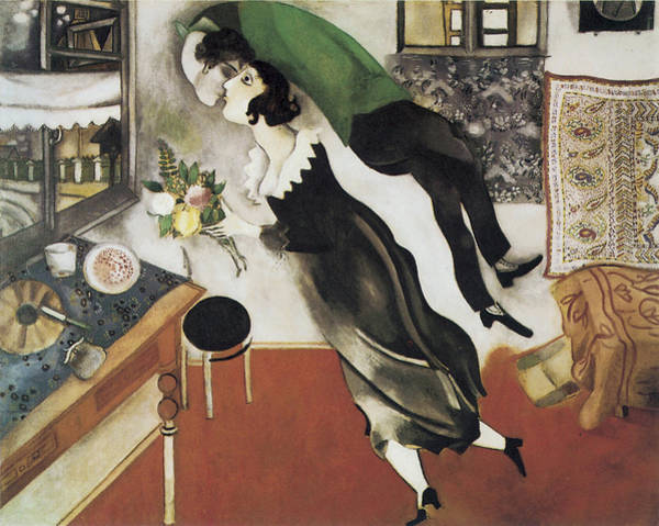 Bed Painting - The Birthday by Marc Chagall