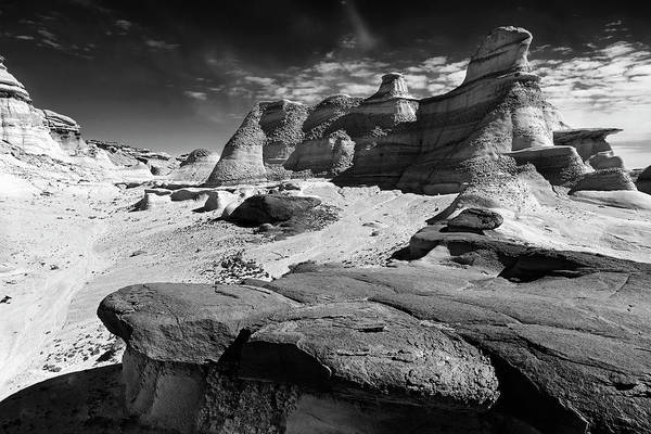 Photograph - The Bisti Badlands - New Mexico - Black And White by Jason Politte
