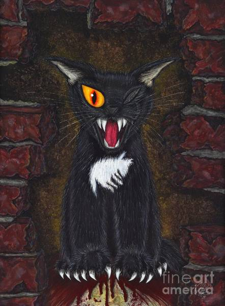 Painting - The Black Cat Edgar Allan Poe by Carrie Hawks