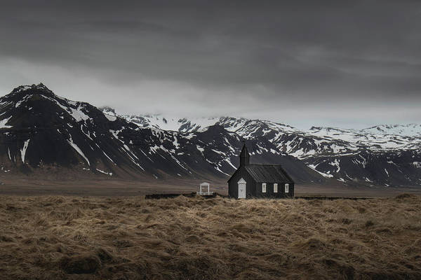 Photograph - The Black Church, Iceland In Moody Weather by Dalibor Hanzal