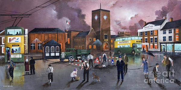 Painting - Dudley Trolley Bus Terminus 1950's by Ken Wood