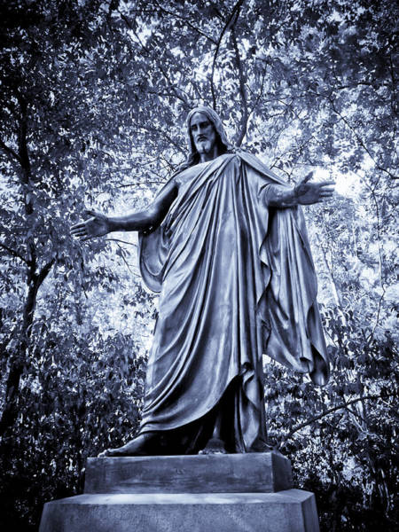 Famous Cemeteries Photograph - The Black Jesus In Blue by Linda Unger
