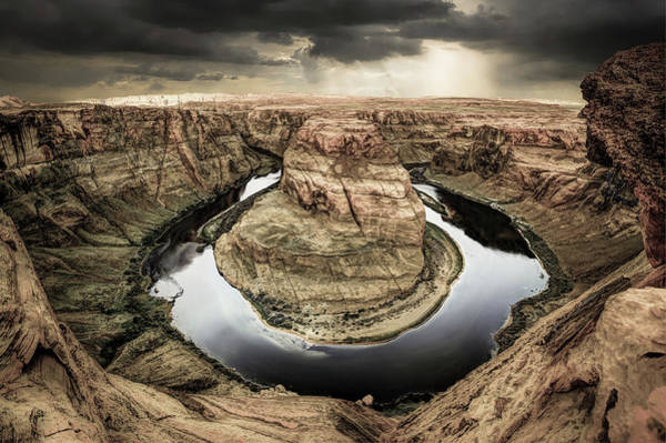 The Horseshoe Wall Art - Photograph - Black River Around Horseshoe Bend by Gregory Ballos