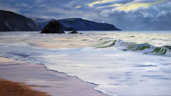 Painting - The Black Rock Widemouth Bay by Lawrence Dyer