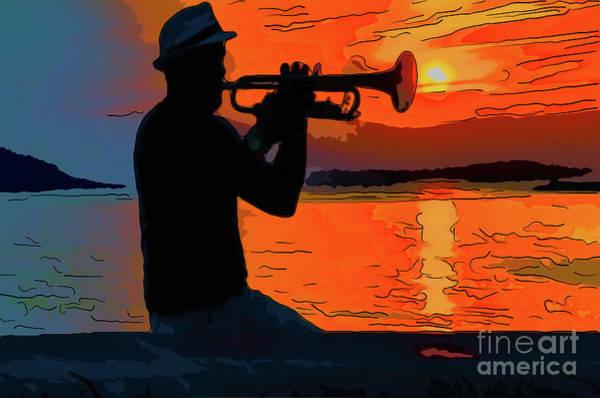 Evening Wall Art - Digital Art - The Black Silhouette Of A Musician Playing On A Trumpet by Viktor Birkus
