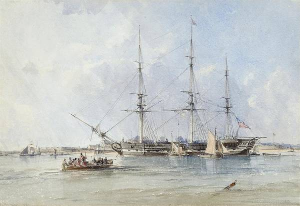 Brighton Painting - The Blackwall Frigate Seringapatam At Anchor Off Tilbury Fort by MotionAge Designs