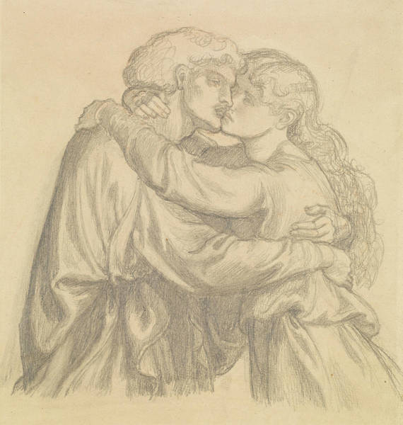 Drawing - The Blessed Damozel - Study Of Two Lovers Embracing by Dante Gabriel Rossetti