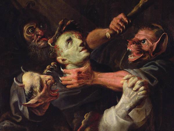 Wall Art - Painting - The Blessed Guillaume De Toulouse Tormented By Demons by Ambroise Fredeau