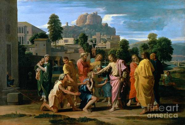 Kneeling Painting - The Blind Of Jericho by Nicolas Poussin