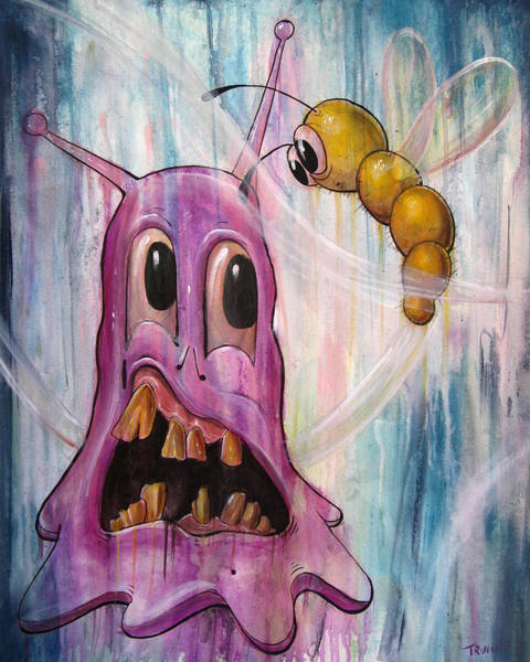 Blob Painting - The Blob And The Worm by Matt Truiano