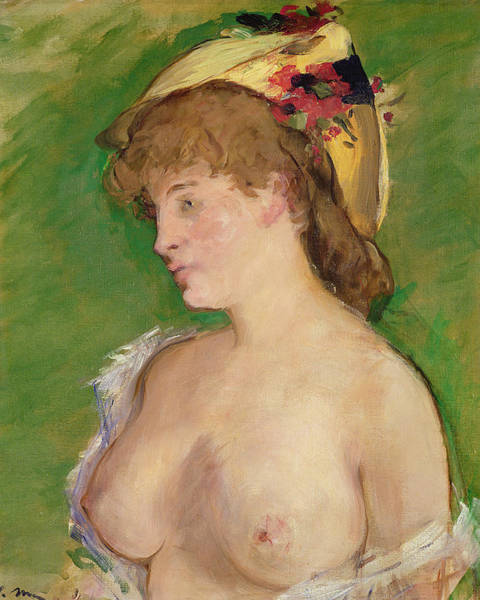 Pensive Painting - The Blonde With Bare Breasts by Edouard Manet