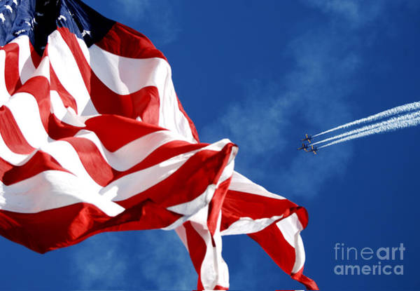 Flying The Flag Wall Art - Painting - The Blue Angels Flying Over Us Flag by Celestial Images