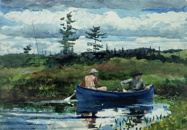 Homer Painting - The Blue Boat by Winslow Homer