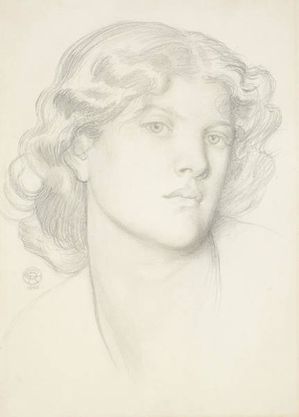 Drawing - The Blue Bower - Female Head Study by Dante Gabriel Rossetti