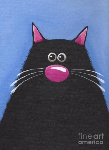 Fat Cat Painting - The Blue Cat by Lucia Stewart