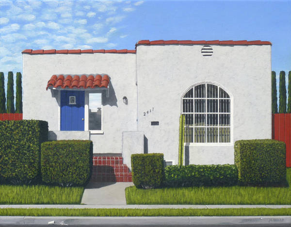 Stucco Wall Art - Painting - The Blue Door by Michael Ward