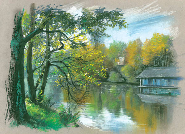 Birch River Photograph - The Blue House From The Lake by MGL Meiklejohn Graphics Licensing