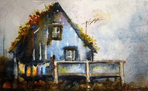 Norway Wall Art - Painting - The Blue House by Kristina Vardazaryan