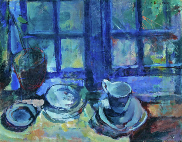 Painting - The Blue Kitchen by Ludvig Karsten