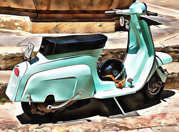 Photograph - The Blue Lambretta by Dorothy Berry-Lound
