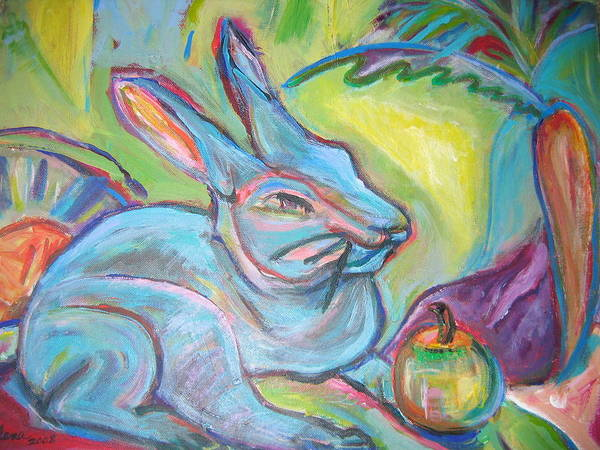 Painting - The Blue Rabbit by Marlene Robbins