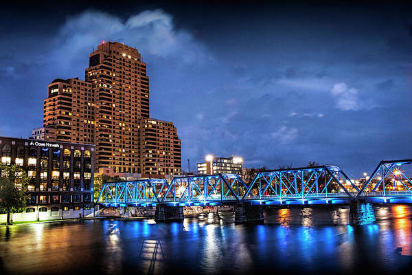 Photograph - The Blue Walking Bridge At Night In Grand Rapids by Randall Nyhof