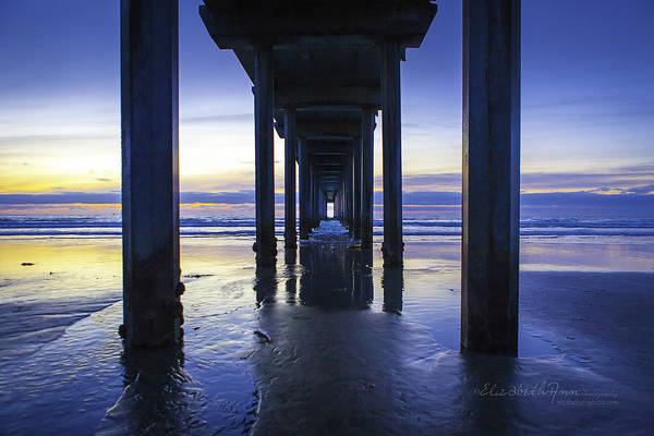 Scripps Pier Photograph - The Blue's by ElizabethAnn Linder