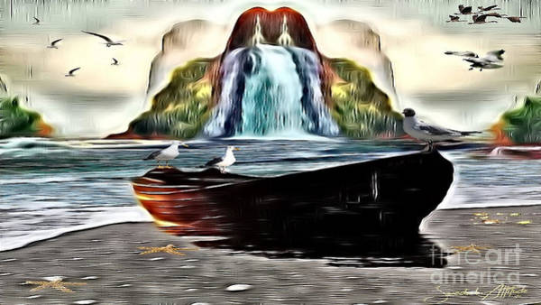 Digital Art - The Boat By The Riverbanks Waterfall by Swedish Attitude Design