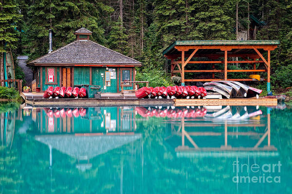 Photograph - The Boat House At Emerald Lake In Yoho National Park by Bryan Mullennix