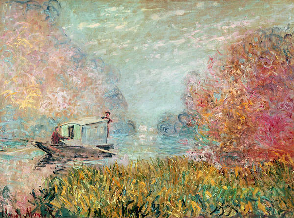 Floating Painting - The Boat Studio On The Seine by Claude Monet