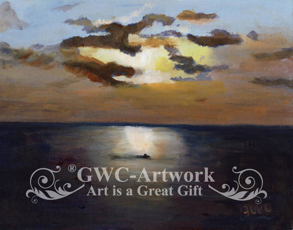 Wall Art - Painting - The Boater At Sunset by Gloria Condon