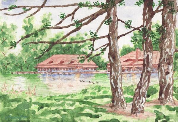 St Louis Arch Painting - The Boathouse At Forest Park by Bill Torrington