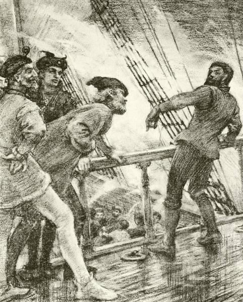 Wets Drawing - The Boatswain by Henry Scott Tuke