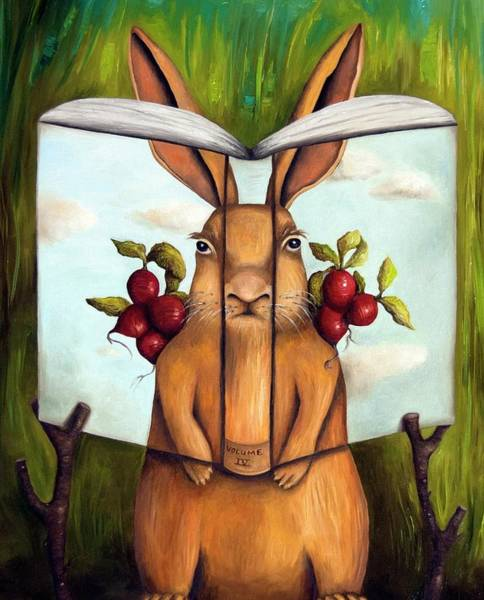 Painting - The Book Of Secrets 4-the Rabbit Story by Leah Saulnier The Painting Maniac