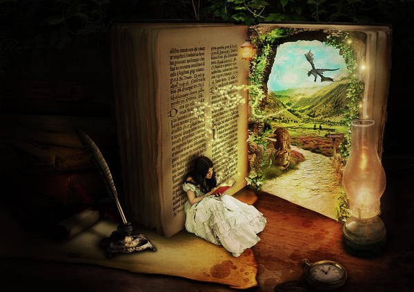 Woman Reading Wall Art - Digital Art - The Book Of Secrets by Donika Nikova