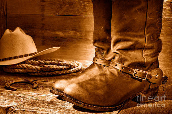 Wall Art - Photograph - The Boots - Sepia by Olivier Le Queinec