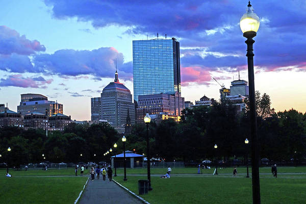 Photograph - The Boston Skyline At Sunset Boston Common Boston Ma by Toby McGuire