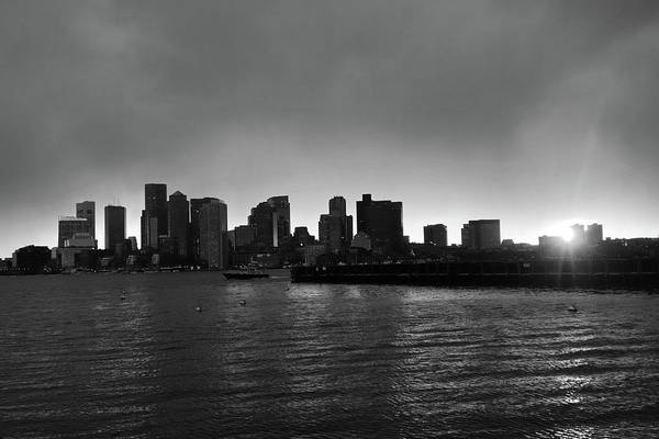 Photograph - The Boston Skyline At Sunset From East Boston Black And White by Toby McGuire